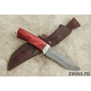 Нож «Александр II» Н6-П, сталь нержавеющий дамаск (40Х13-Х12МФ1), рукоять: никель, стабилизированная береза