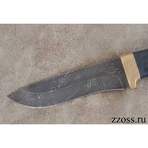 Нож «Император тайги» Н6-Л, сталь нержавеющий дамаск (40Х13-Х12МФ1), рукоять: золото, стабилизированная береза, литьё, рисованный клинок в золоте