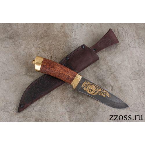Нож «Александр II» Н6-П, стальнержавеющий дамаск (40Х13-Х12МФ1), рукоять: золото, карельская береза, рисованный клинок в золоте