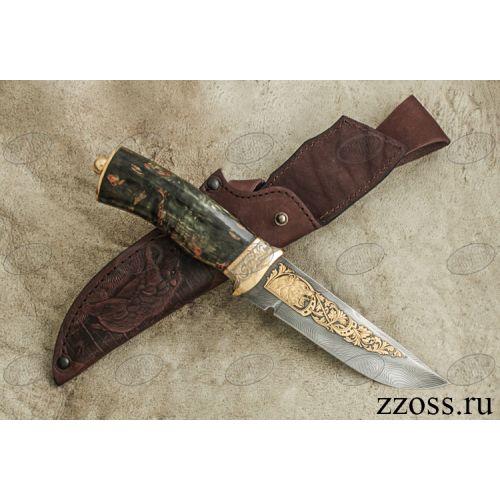 Нож «Королевский Лондон» Н8-П, сталь черный дамаск (У10А-7ХНМ), рукоять: золото, стабилизированная береза, резная гарда, рисованный клинок в золоте, медведь
