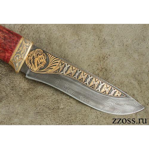 Нож «Александр II» Н6-П, сталь черный дамаск (У10А-7ХНМ), рукоять: золото, стабилизированная береза, резная гарда, рисованный клинок в золоте