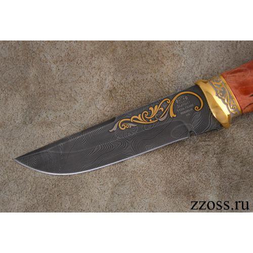 Нож «Королевский Лондон» Н8-П, сталь черный дамаск (У10А-7ХНМ), рукоять: золото, стабилизированная береза, резная гарда, рисованный клинок в золоте, тигр